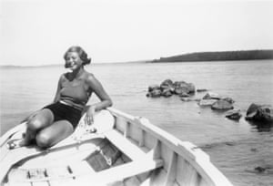 Ingrid Bergman in a boat on Lake Mälaren just outside Stockholm, c 1932, when she was around 18.