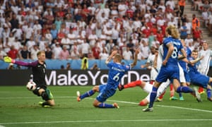 Iceland score their first goal against England in Nice