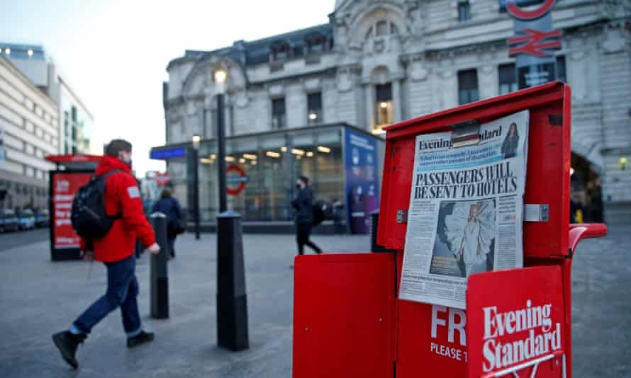 A front page of the Evening Standard newspaper on a stand near a tube station in London