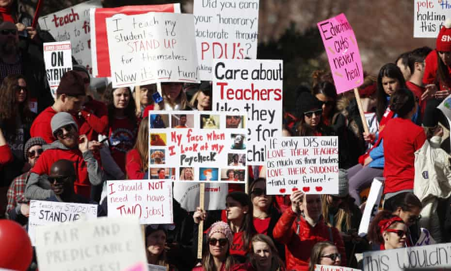 A rally for striking Denver public schools instructors in Civic Center Park on 12 February.