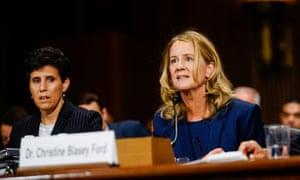 Christine Blasey Ford testifies before members of the Senate judiciary committee.