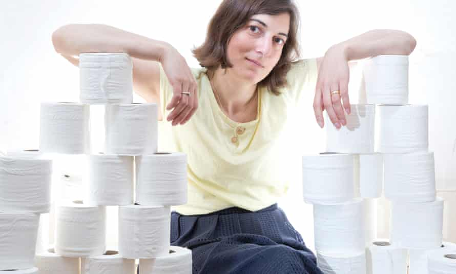 Paula with some of her 45 toilet rolls.