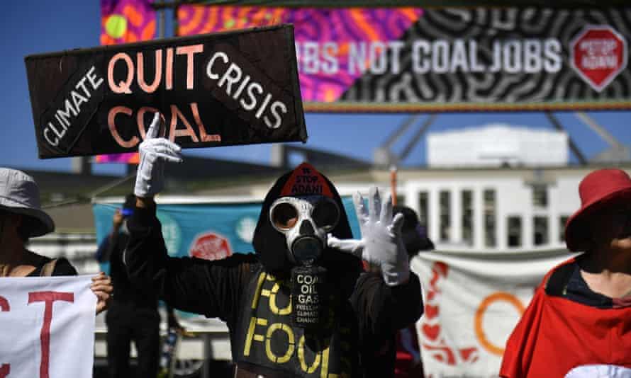 A protest against Adani's Carmichael coalmine outside Parliament House
