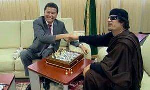 Kirsan Ilyumzhinov with Muammar Gaddafi.