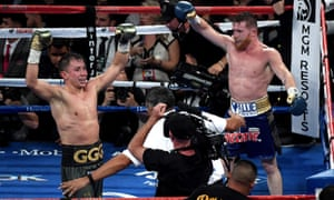 Gennady Golovkin and Canelo Alvarez both celebrate after the final round in their September fight