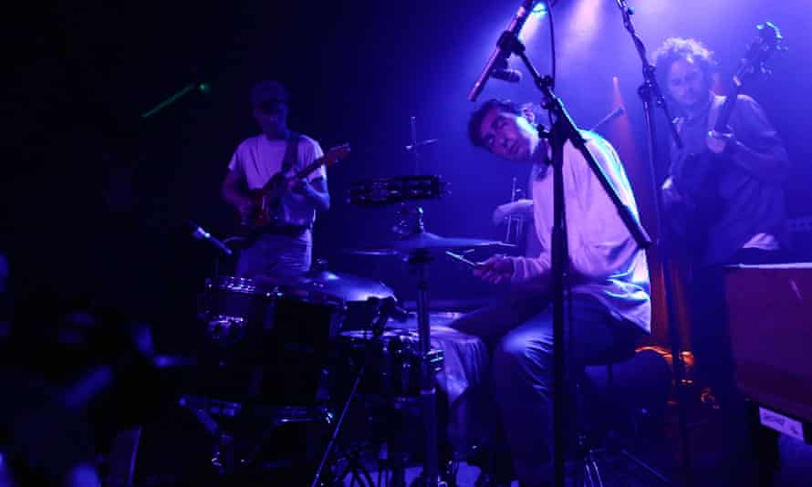 Melancholic subject matter … Julien Ehrlich of Whitney plays drums and sings at Oslo, London.
