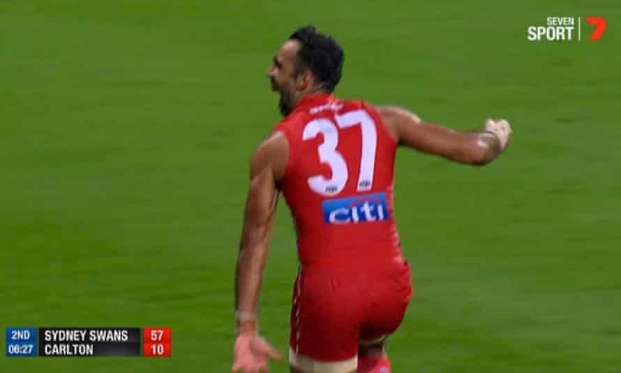 AFL player Adam Goodes performs an Indigenous dance after scoring for the Sydney Swans against Carlton in an AFL match in Australia in May 2015. This is a screengrab of the moment as broadcast on Channel Seven.