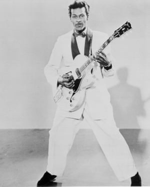 Performing Sweet Little Sixteen with his Gibson hollow body guitar around 1958.