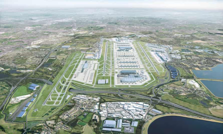 Computer-generated image released by Heathrow shows what the airport would look like in 2050 with a third runway