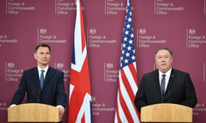 Mike Pompeo (right) and Jeremy Hunt at their press conference.