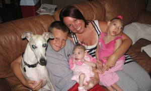 The Hartley family: Cal, Gwen, Lola and Claire with their dog.
