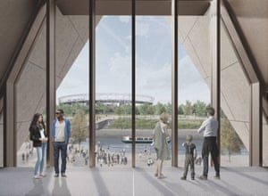 CGI of the new V&A East museum planned for Olympic Park at Stratford Waterfront, designed by O'Donnell + Tuomey.