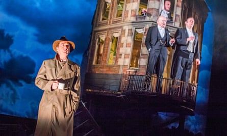 Liam Brennan (Inspector Goole), Clive Francis (Mr Birling), Hamish Riddle (Eric Birling) and Matthew Douglas (Gerald Croft) in An Inspector Calls at Playhouse Theatre, London.