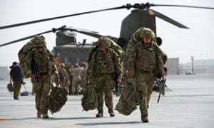 British military personnel arriving at Kandahar airfield in Afghanistan in 2014