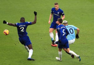 Ross Barkley (centre) can only watch as Sergio Agüero pounces on his mistake to score Manchester City's second goal in their 6-0 win over Chelsea.