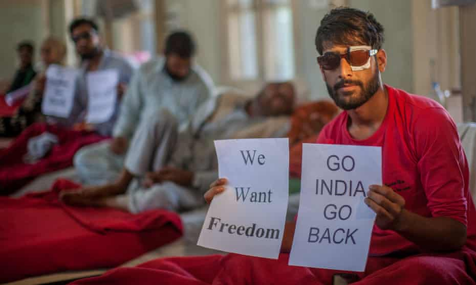 Victims of police shooting who have been blinded in one or both eyes in hospital in Srinagar.