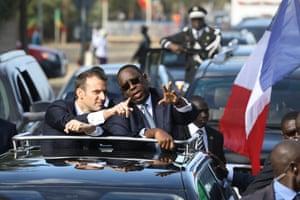 Emmanuel Macron in car with Macky Sall