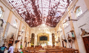 The aftermath of an explosion at St Sebastian's church in Negombo, north of Colombo, Sri Lanka, on 21 April.