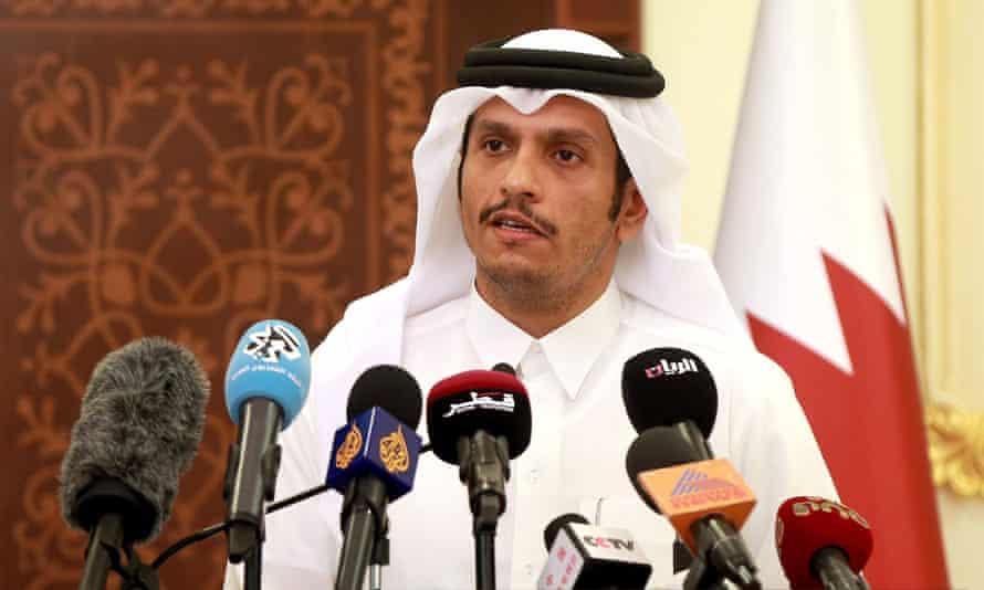 Qatari foreign minister Mohammed bin Abdulrahman al-Thani at a press conference.