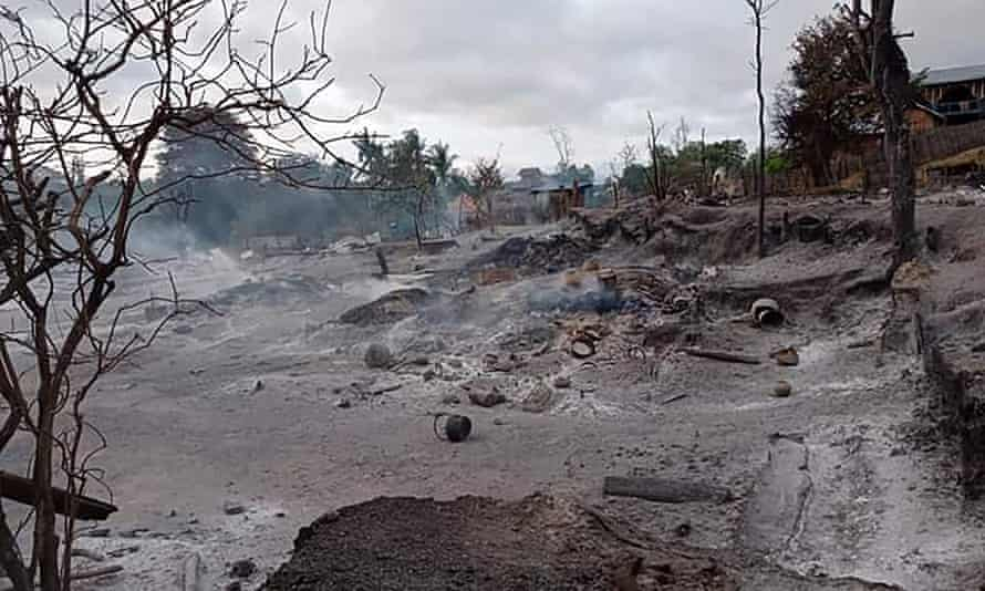 The smoking ruins of Kin Ma village in Magway region.