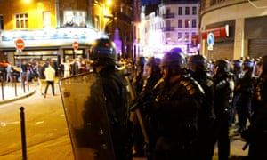 Police confront England fans in Lille.