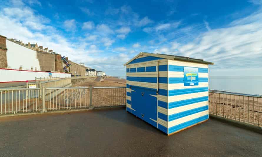 Beach hut overlooking the sand, Ramsgate.