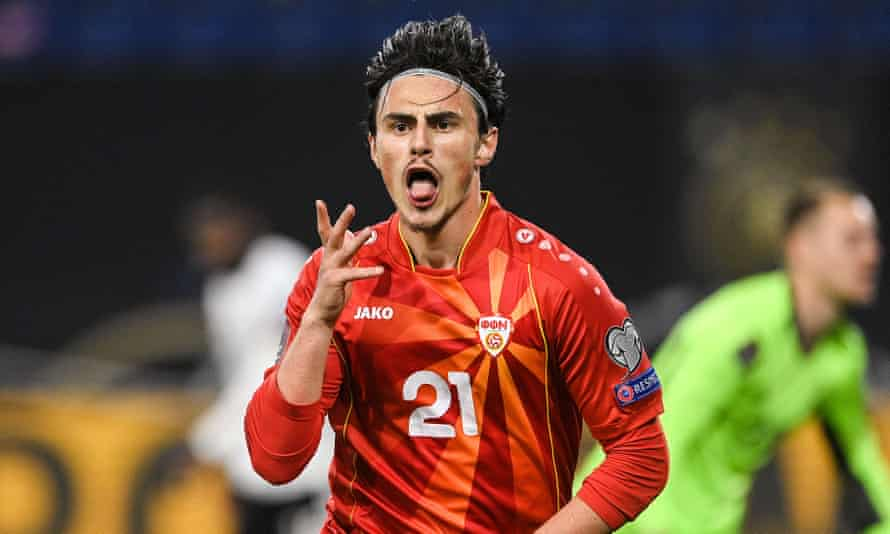 North Macedonia's Elif Elmas celebrates his winning goal in a World Cup qualifer against Germany in March.