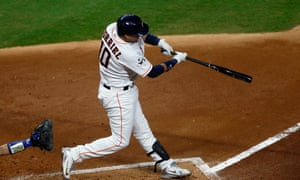 Yuli Gurriel of the Houston Astros hits a solo home run during the second inning against the Los Angeles Dodgers in game three of the 2017 World Series.