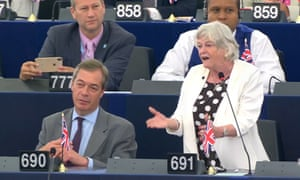 Ann Widdecombe giving a speech to the European parliament in Strasbourg, July 2019