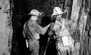 Miners drill in silver mines in Cobalt, Ontario