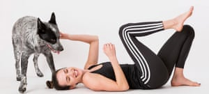 yoga with adriene - posing with benji the dog - from official website