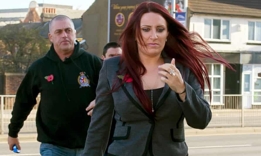 Jayda Fransen arriving at Luton magistrates court.