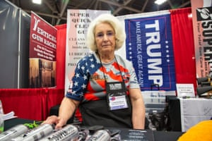 Linda Schillinger in her booth at the NRA show in Dallas