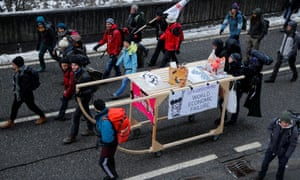 Climate protesters demonstrate against WEF in Landquart, Switzerland.