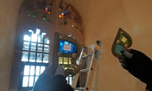 Stained glass window pieces from the £3m restoration of Lindisfarne Castle.
