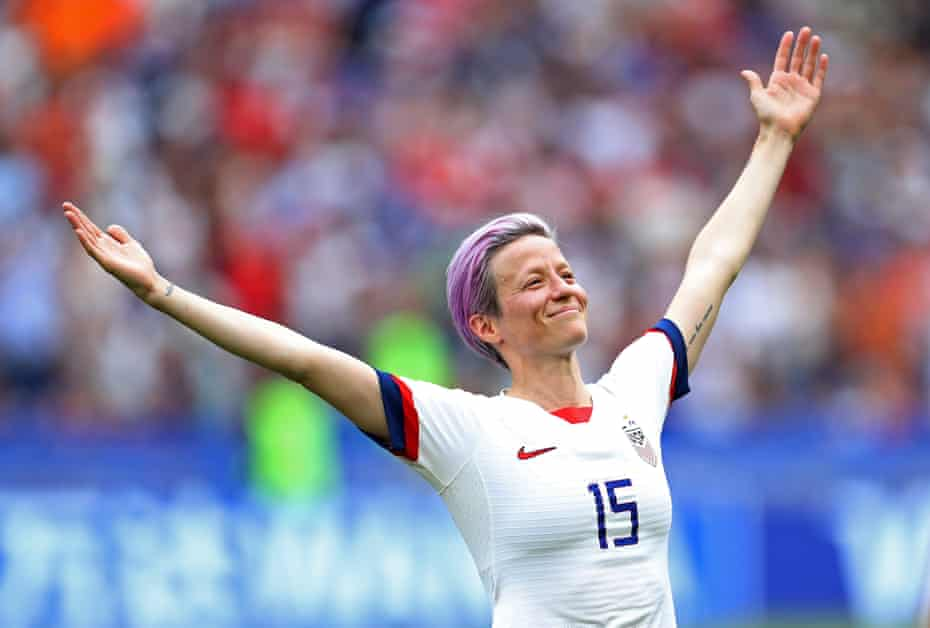 Megan Rapinoe, the star of the USA team, celebrates after scoring the opening goal in the World Cup Final.
