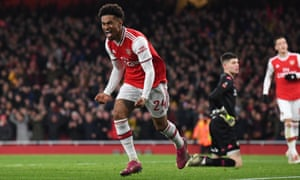 Arsenal's Reiss Nelson celebrates scoring the winning goal.