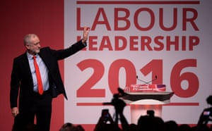 Labour leader, Jeremy Corbyn, shortly after the result of the leadership contest.