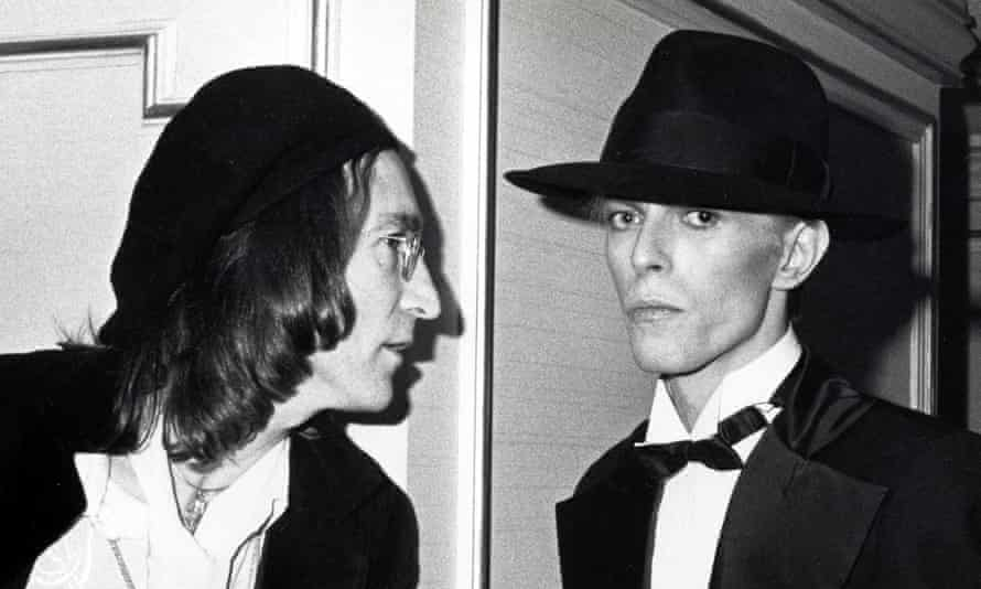 John Lennon and David Bowie at the 1975 Grammy awards.
