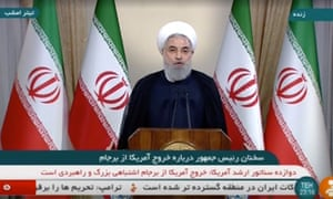 Iran's President Rouhani speaks about the nuclear deal in Tehran on Tuesday