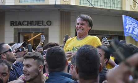 Presidential candidate Jair Bolsonaro after being stabbed in the stomach during a campaign rally in Juiz de Fora, Brazil.