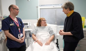The prime minister at Frimley Park hospital, Surrey, in January.