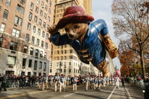The Paddington Bear balloon floats down Central Park West