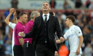 Swansea manager Paul Clement shows his delight after what could prove a decisive day in the relegation battle.