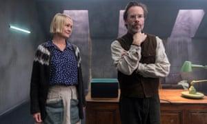 Guy Pearce as Dr Halvorson and Ingunn Beate Øyen as Runa in the Netflix series The Innocents
