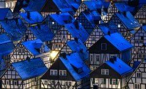 """Freudenberg, GermanyThe architectural monument """"Alter Flecken"""" with 80 half-timbered houses in the old town is covered by blue lights."""