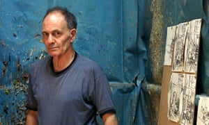 Painter Frank Auerbach poses in his studio.