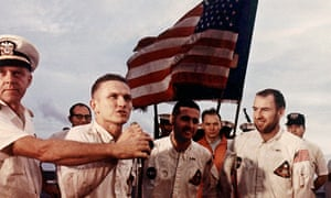 The crew of the Apollo 8 spacecraft (Bill Anders, 3rd left) following the lunar orbital mission, 27 December 1968.