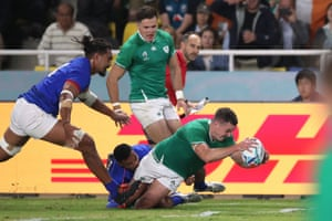 Ireland's Johnny Sexton scores their fourth try.