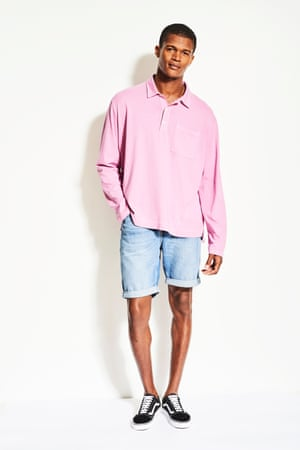 model wears pink polo shirt look